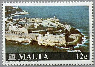 16世紀建造の世界遺産の町バレッタのセント・エルモ要塞(1980年)