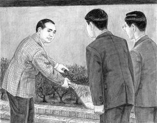 無事故を期し、牙城会の友と、花壇の木の根元まで照らし点検(小説『新・人間革命』の挿絵から、内田健一郎画)