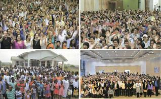 「青年拡大の年」を祝賀する新年の集いが世界各地で盛大に(左上から時計回りに、ブラジル、シンガポール、ドイツ、ガーナ)
