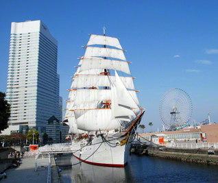 """その美しさをたたえ、""""太平洋の白鳥""""と呼ばれた帆船日本丸。保存船となってからも、すべての帆を広げる総帆展帆が、年間で約12回、実施されてきた(横浜市西区で。帆船日本丸記念財団提供)"""