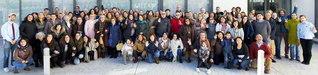 リーバス・バシアマドリード市のスペイン文化会館で開催された研修会。ロシェ婦人部長、ラルワニ青年部長が友を励ました(1月27日)
