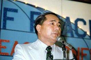 1975年1月26日、「世界平和会議」でSGI会長に就任した池田先生(グアムで)