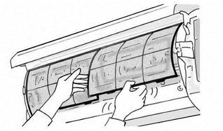【エアコン】①カバーを開けてフィルターを取り出す