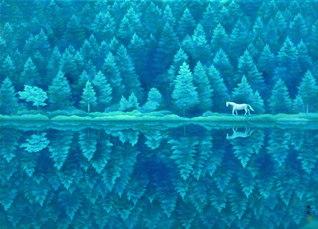 東山魁夷「緑響く」 1982年 84・0×116・0センチ 長野県信濃美術館東山魁夷館所蔵