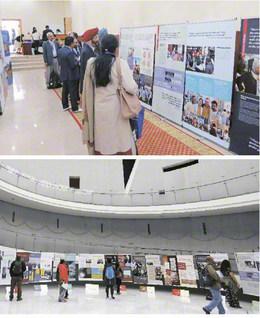 国内外で開催される、SGIがICANの協力を得て制作した「核兵器なき世界への連帯」展(上がモンゴル、下が長崎)